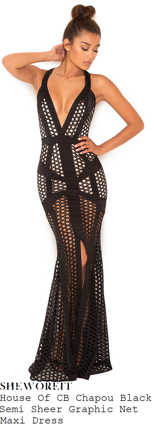 chloe-sims-house-of-cb-chapou-black-and-nude-sheer-net-mesh-overlay-sleeveless-plunge-front-panel-detail-maxi-dress
