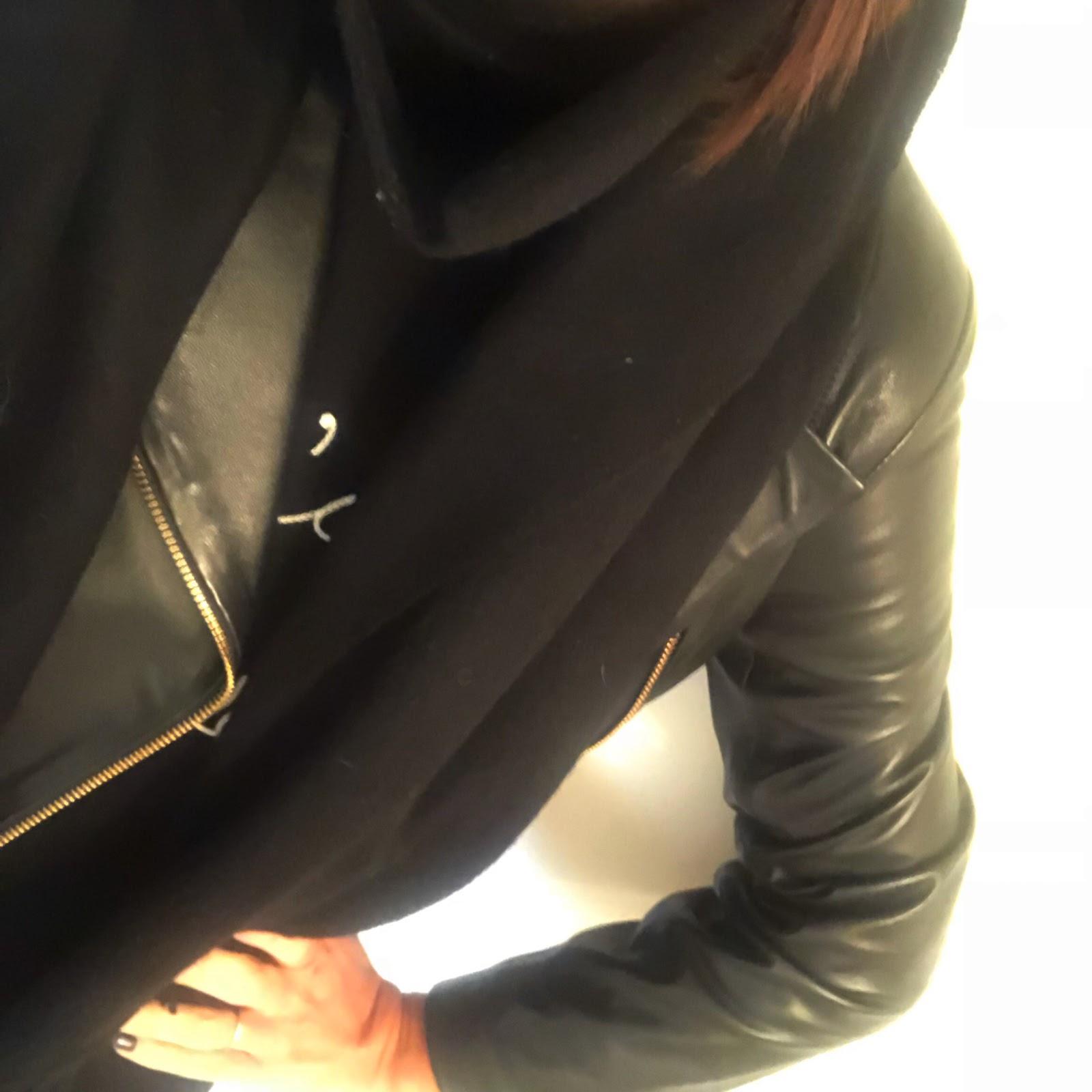 my midlife fashion, baukjen everyday biker jacket, asos oversized lambswool scarf with tassels, bella freud j t'aime jane sweater, j crew billie cropped kick flare jeans, marks and spencer leopard print kitten heel boots