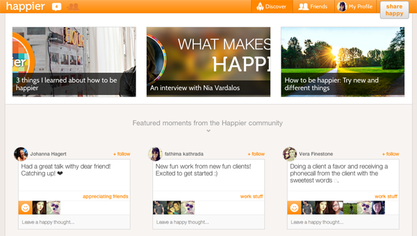 Happier - a social network aimed at focussing on positivity