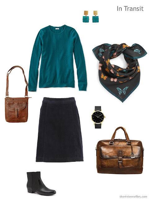 travel outfit in teal and black, with Echo silk butterfly bandana and brown leather accessories