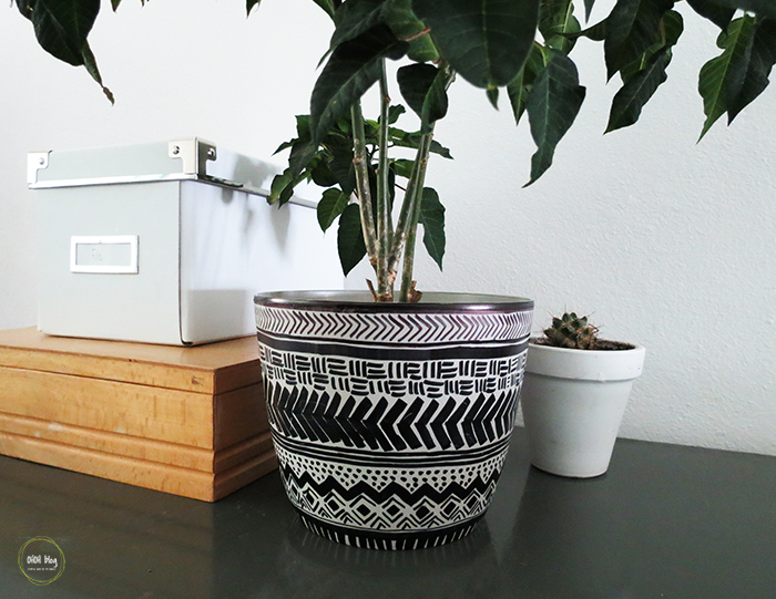 Mud cloth inspiration to stylize a planter