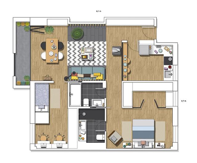 plan de amenajare pentru un apartement de 3 camere