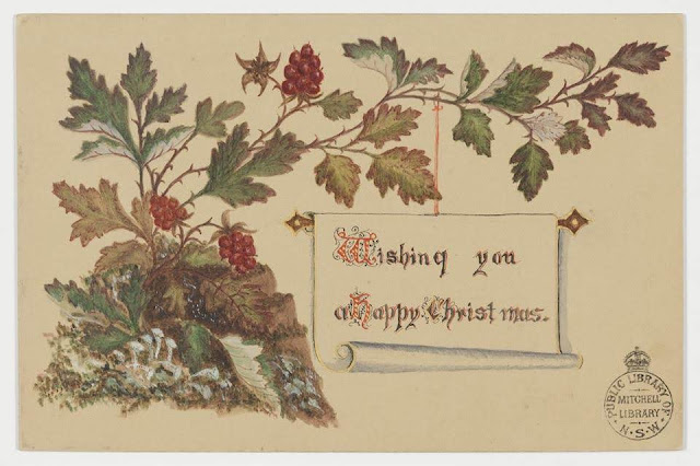 """Christmas Card design depicting native currants with the words """"Wishing You a Happy Christmas""""."""