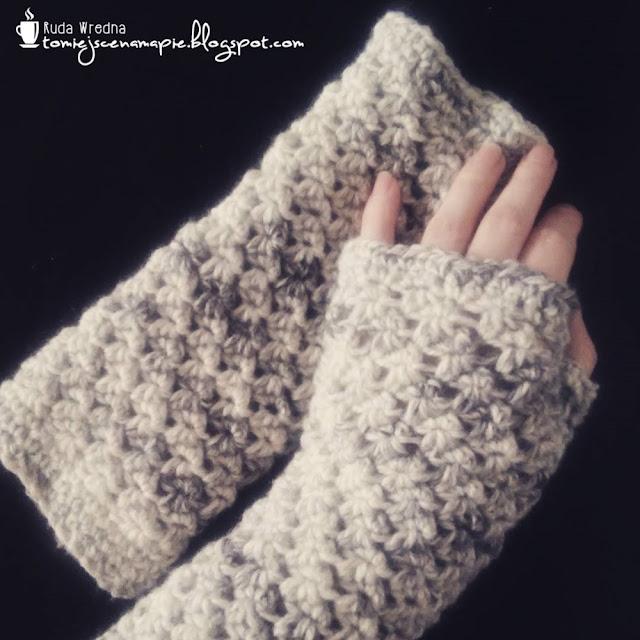 szdełkowe mitenki, rękawiczki bez palców