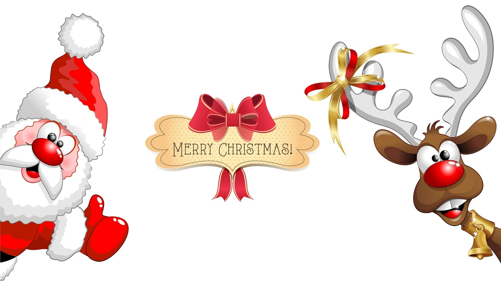 Santa And Reindeer From North Pole Wishing Happy Christmas