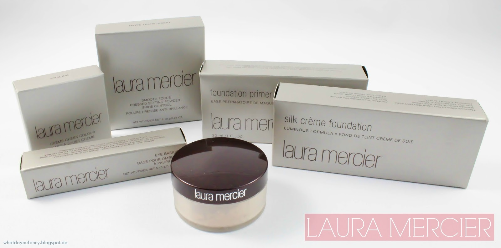 Laura Mercier Foundation Primer, Silk Crème Foundation, Lidschatten-Base, Shine Control-Puder, Crèmerouge und Bronzer