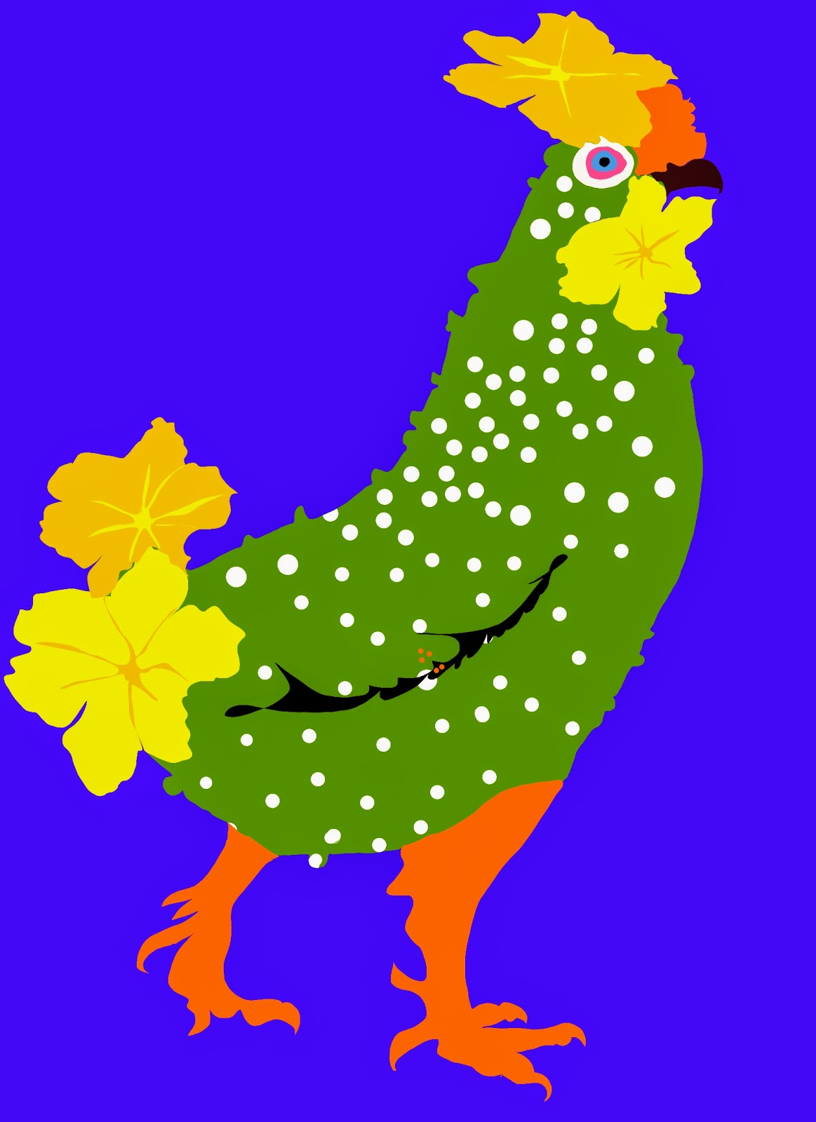 Cucumber and chicken chromosplice illustration.