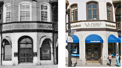 Corner entrance to the S.S. Pierce Building in 1906 and 2017.