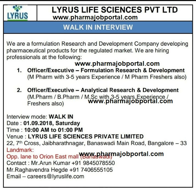 LYRUS Life Sciences  Walk In Interview For FRESHERS, M.Pharm, B.Pharm, M.Sc at 1 Sep.
