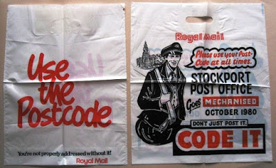 Two plastic carrier bags with postcode slogans on them