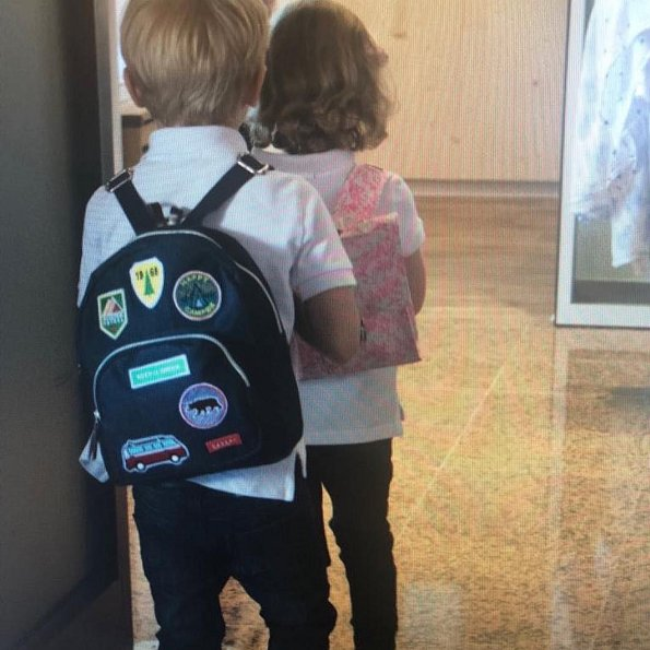 Princess Charlene of Monaco shared photos of Prince Jacques and Princess Gabriella at L'école maternelle (Pre-school)