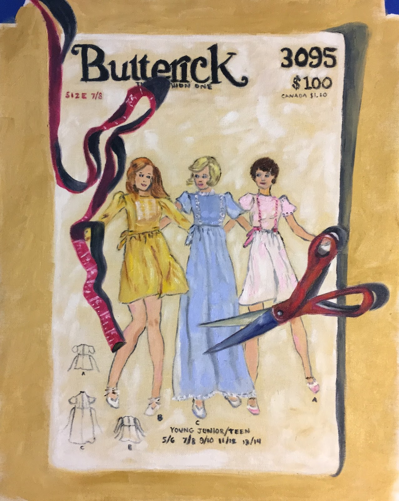 For Some Reason I Became Obsessed With Finding A Vintage Sewing Pattern To Paint I Dont Really Know Why I Went On Ebay And Found Lots Of Them For Around