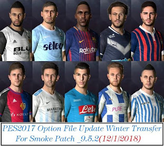 PES 2017 Smoke 9.5.2 Option File Update Winter Transfer 12-1-2018 by EsLaM