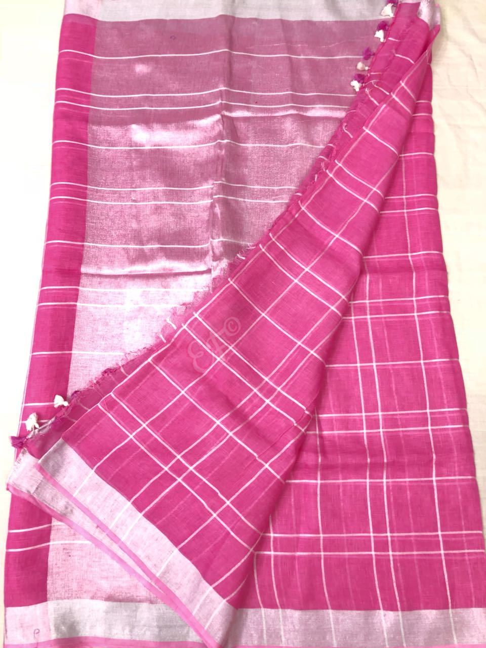 Pure Lenin Cotton Sarees With Checks Design