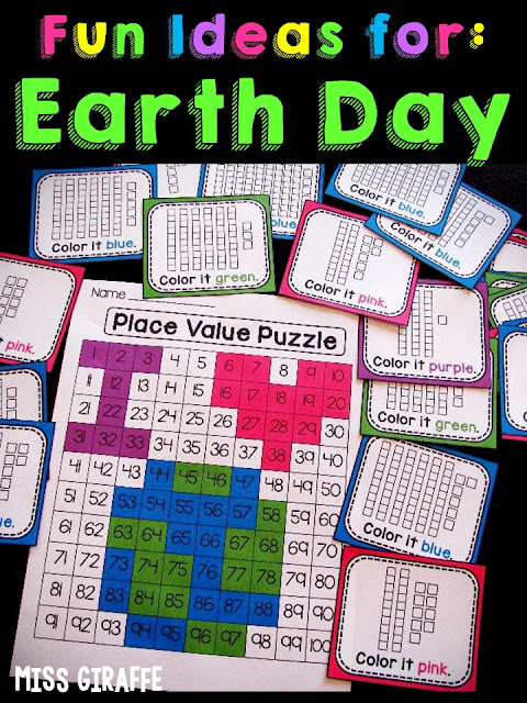 Fun ideas for Earth Day like this place value puzzle where kids grab a card with base 10 blocks and figure out the number it is and color it in to reveal a fun Spring message! Click this to see a video of it being done… such a fun way to practice number sense!