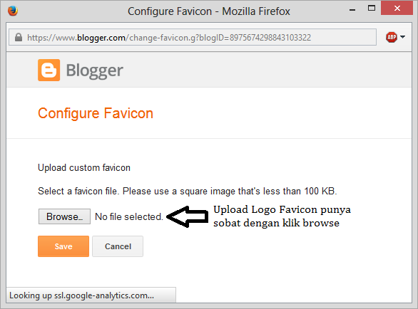 cara browse logo favicon blogger