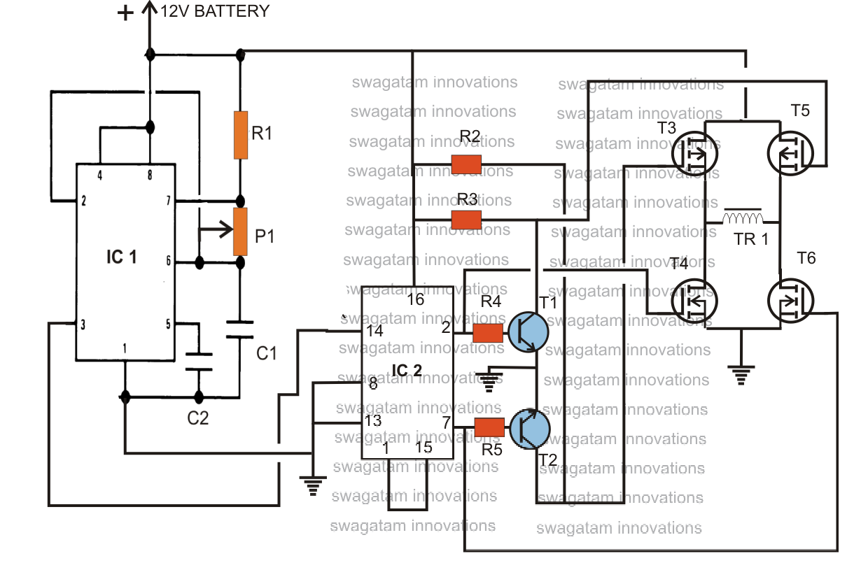 H-Bridge Modified Sine Wave Inverter Circuit | Circuit ...