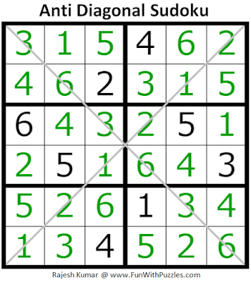 Answer of Anti Diagonal Sudoku Puzzle (Mini Sudoku Series #111)