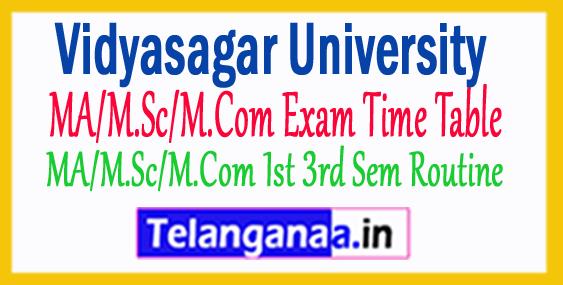 Vidyasagar Univ MA/M.Sc/M.Com Exam Time Table 2017