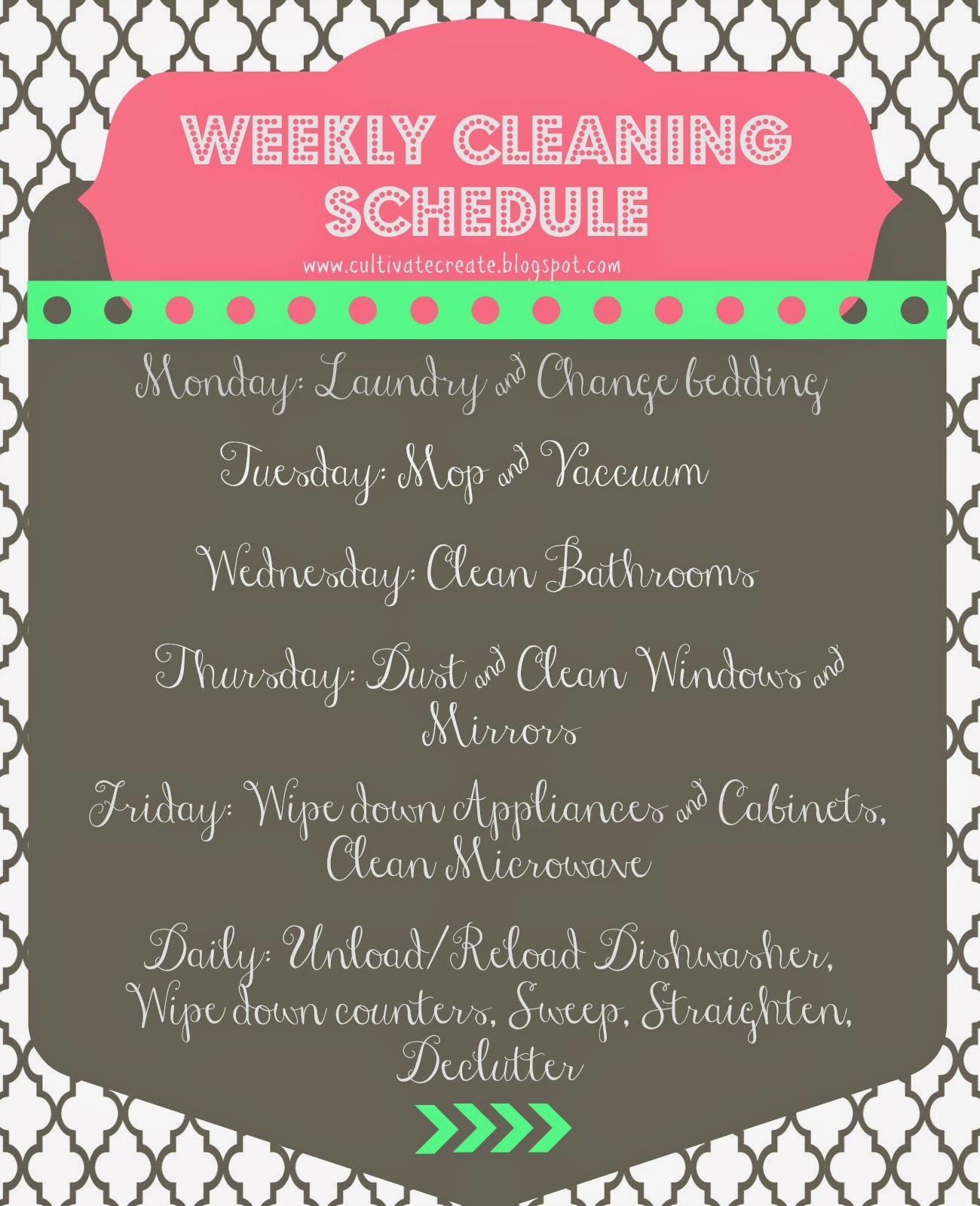 cultivate create  weekly cleaning schedule printable