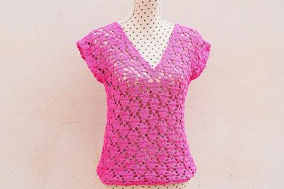 4 - Crochet IMAGENES Blusa de corazones muy fácil y sencilla. MAJOVEL CROCHET