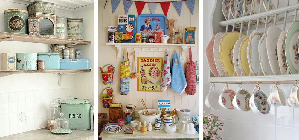 como decorar cocina al estilo vintage con tarros de metal, vajilla de porcelana y anuncios de los años 50