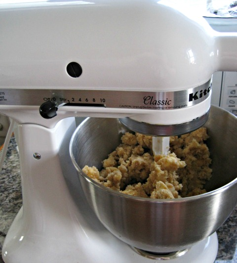 Kitchenaid mixer counter white cookie dough mix