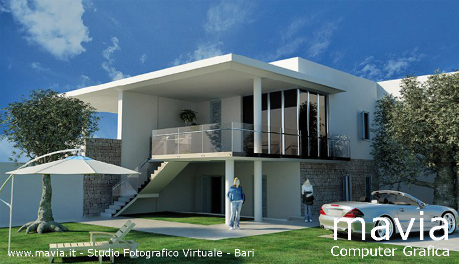 Esterni 3d rendering 3d architettura 3d 3d villa villa for Rendering giardino