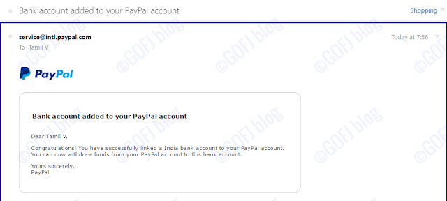 Bank account linked to PayPal India Account