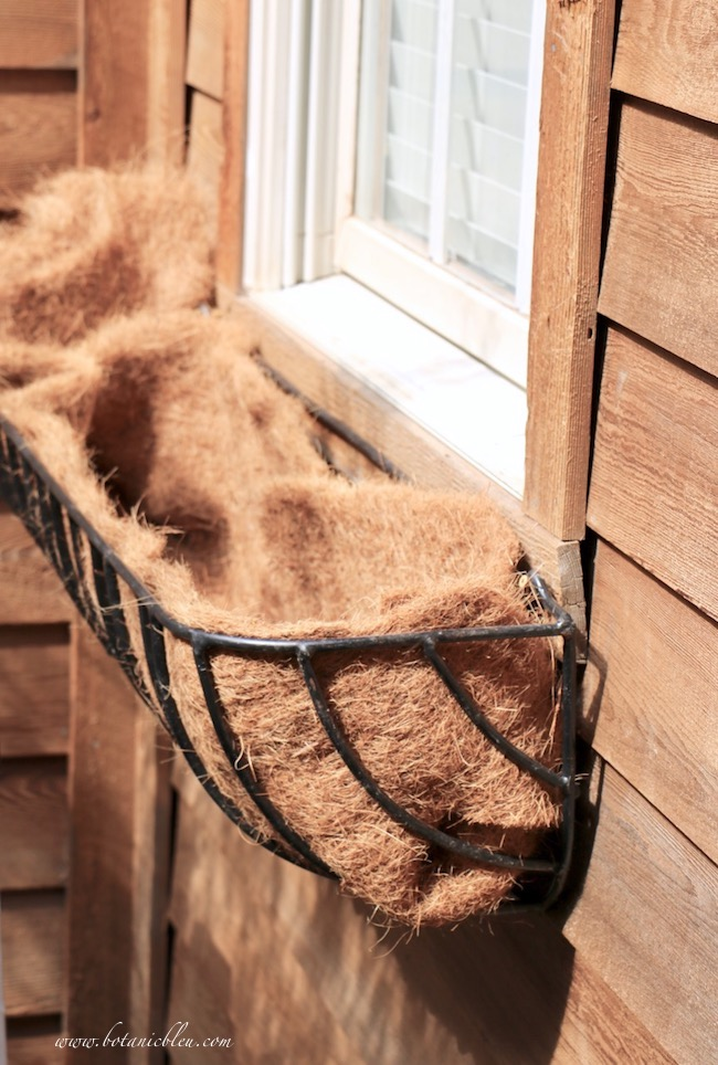 French inspired Hay Rack window basket with coir liner