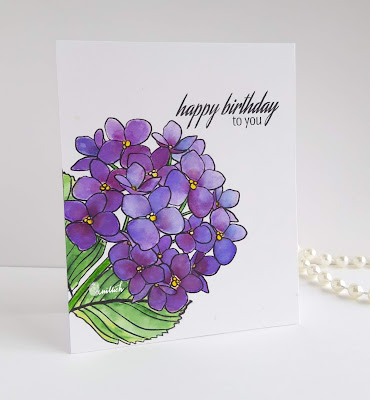 guest designing, Ellen Hutson, water colouring, distress inks, One layer card, floral card, Birthday card, Card for her, Quillish, cards by ishani, ellen hutson Mondo hydrangea, hydrangea card, hydrangea stamp card,