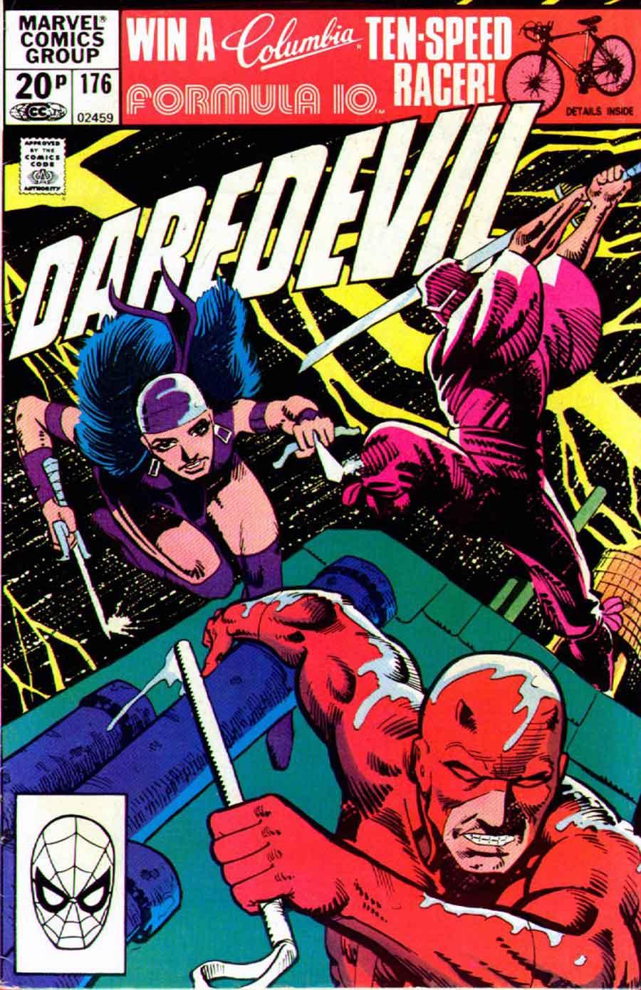 Daredevil v1 #176 elektra marvel comic book cover art by Frank Miller