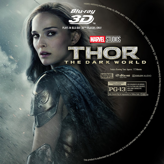 Thor The Dark World 3D Bluray Label