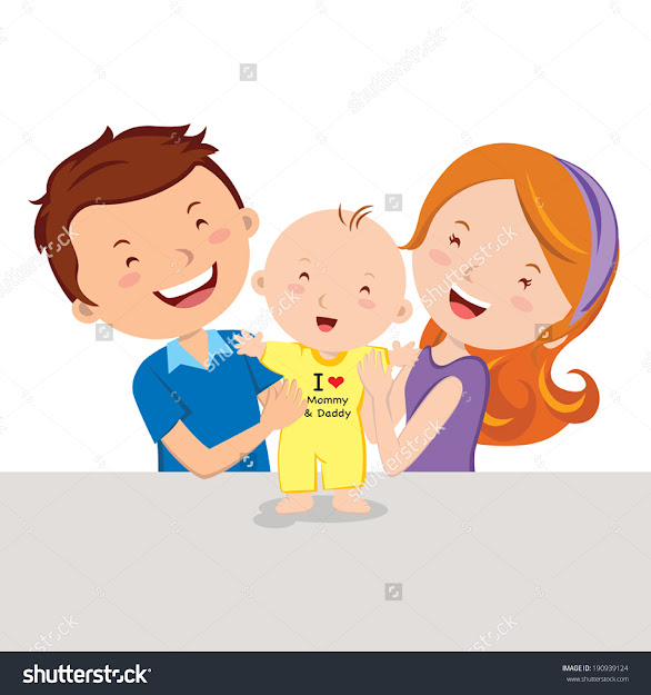 Happy Parent And Baby Vector Illustration Of Father And Mother With  Their Infant Baby