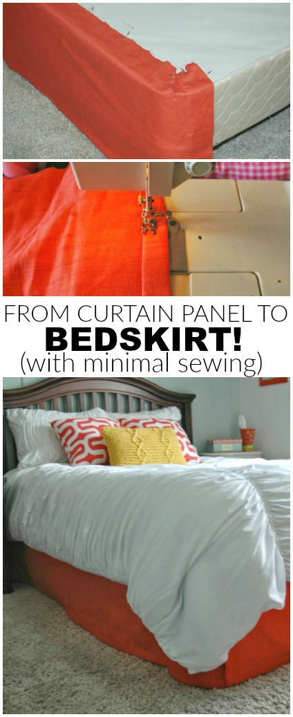 turn a curtain panel into a bedskirt