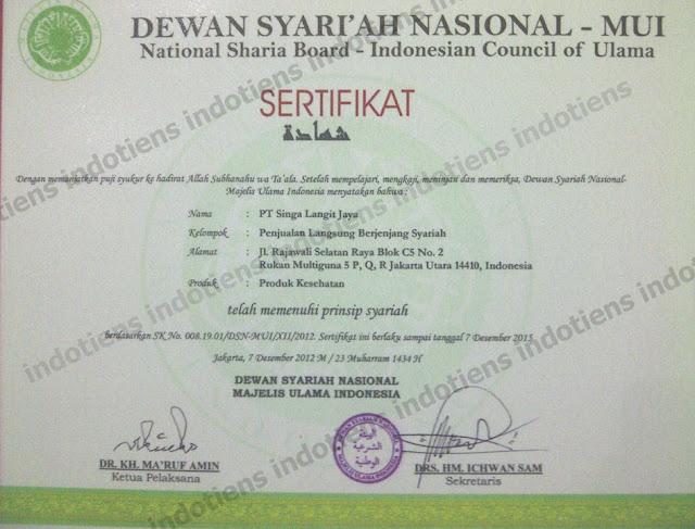 Sertifikat Tiens Syariah - MUI