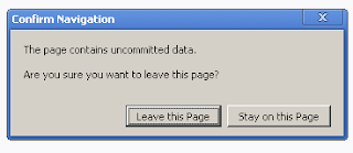 Warning Message when there is unsaved data on page