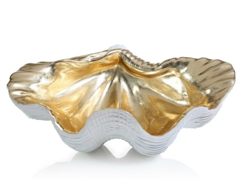 Gold and White Shell Bowl