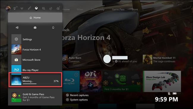 أجهزة إكس بوكس ون القائمة الفرعية الرئيسية مع وسيلة شرح حول لعبة Abzu في نقل.