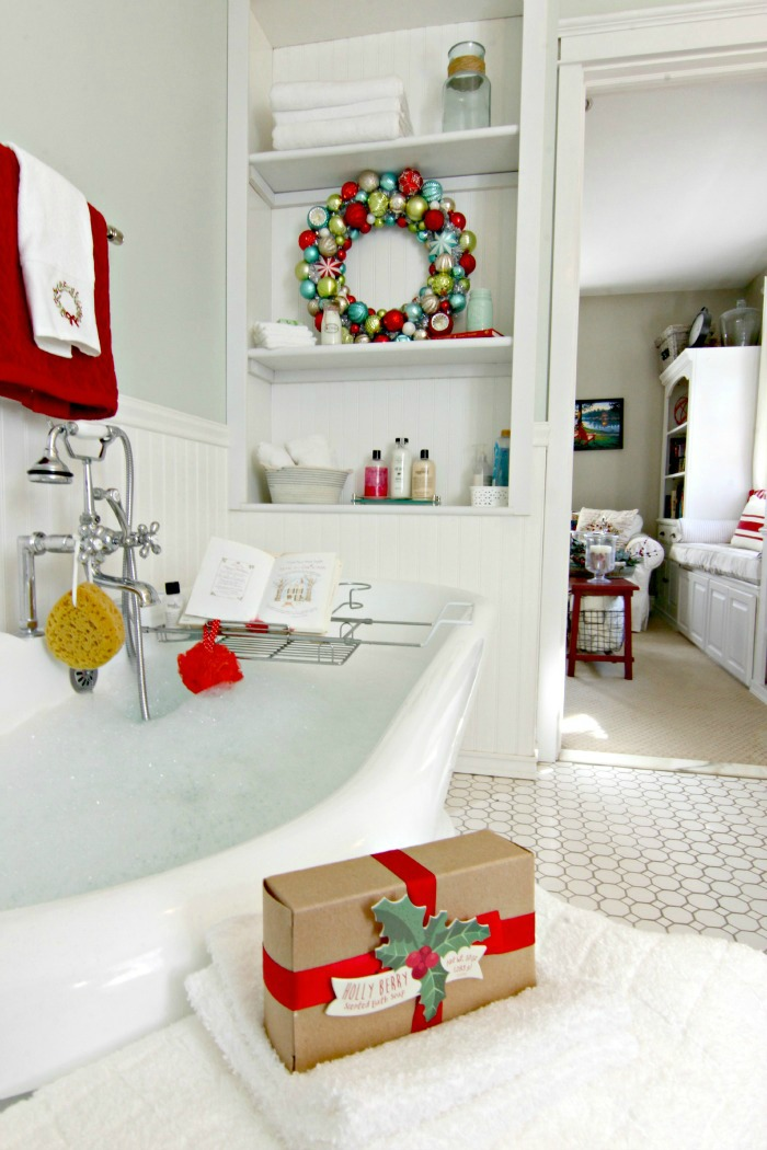 Pedestal tub in DIY master bathroom with holiday decor - www.goldenboysandme.com