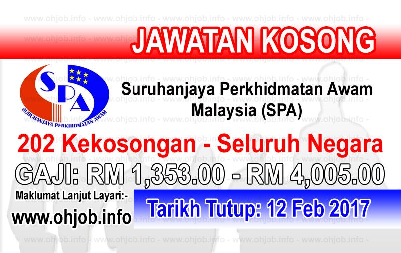 Jawatan Kerja Kosong Suruhanjaya Perkhidmatan Awam Malaysia (SPA) logo www.ohjob.info februari 2017