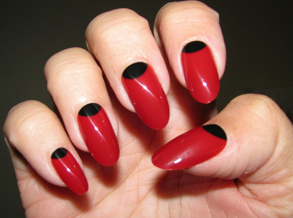 Designs Art Nail Polish Metallic Red And Black Colour Nails Design No30