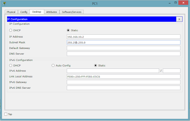Konfigurasi pada PC 1