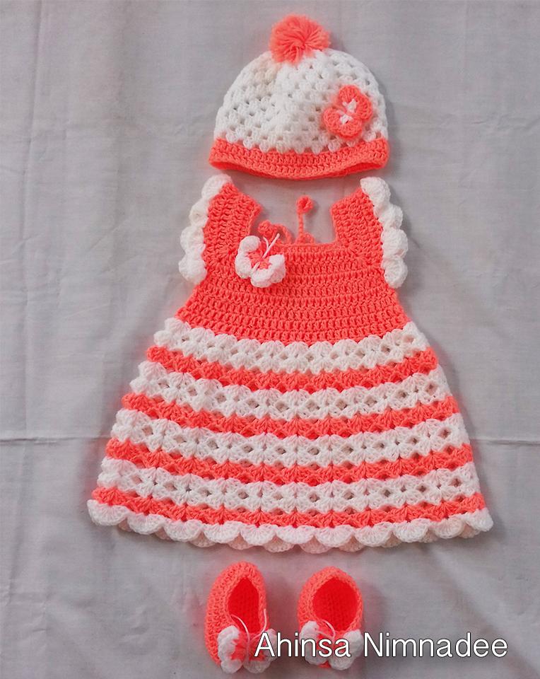 crochet-baby-dress-orange-color-yarn-wool