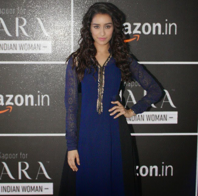 Shraddha Kapoor Hot Photos In Blue Anarkali Suit At AIFW Indian Fashion Week