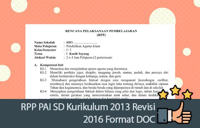 RPP PAI SD Kurikulum 2013 Revisi 2016 Format DOC