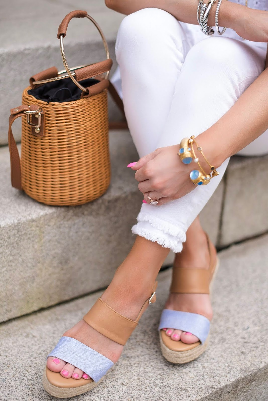 Julie Vos Bracelets, Chambray Wedges & Straw Bucket Bag - Something Delightful Blog