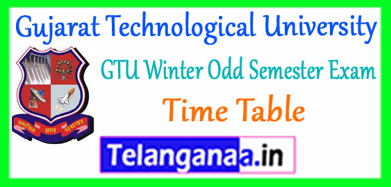 GTU Gujarat Technological University Diploma Time Table Winter 2017-18