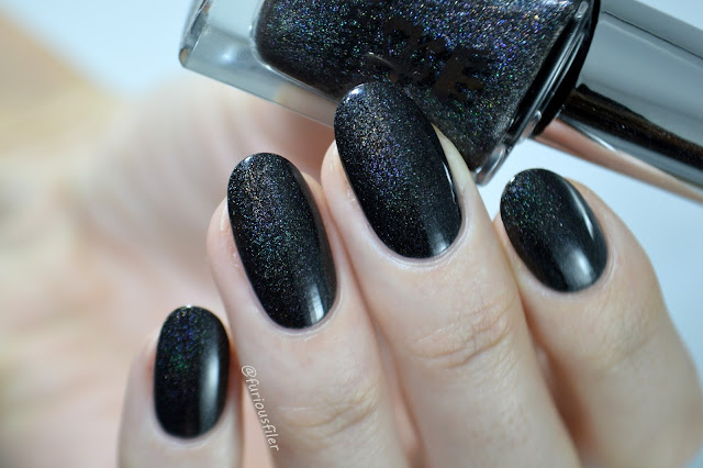black holographic nail polish a england sparkle party
