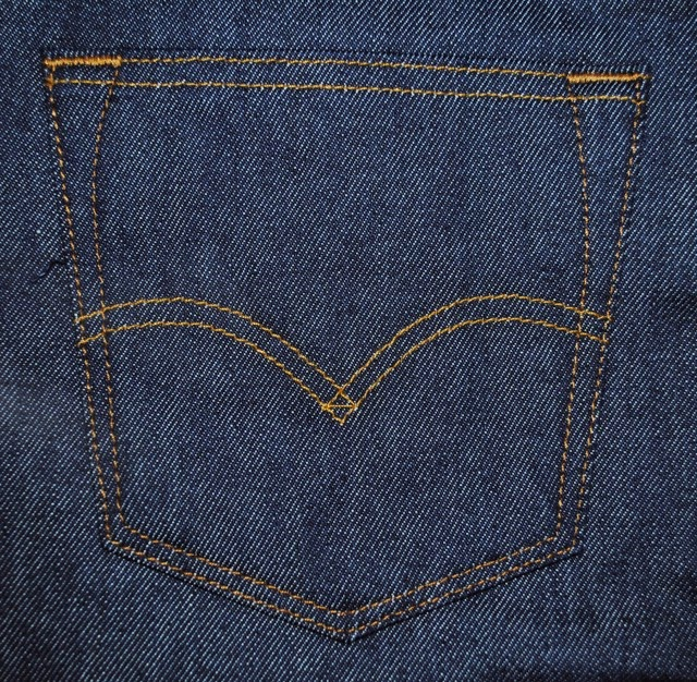 Levis 501STF left back pocket with iconic arcuate stitch